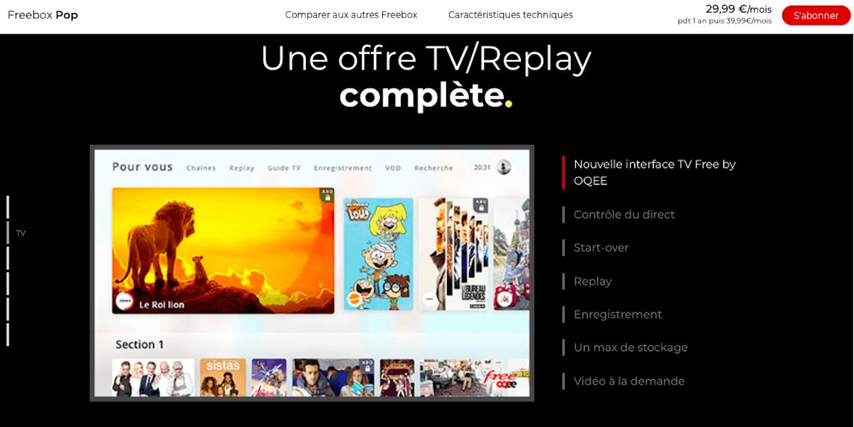 box internet fibre optique et TV avec la Freebox Pop