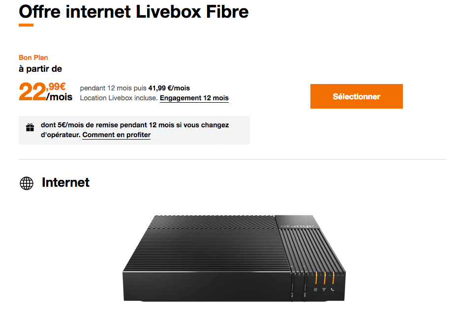 la box fibre d'Orange