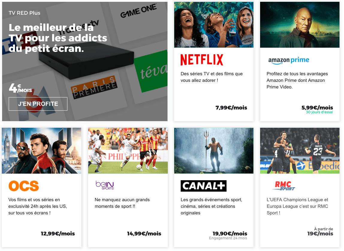 les options TV de red by SFR