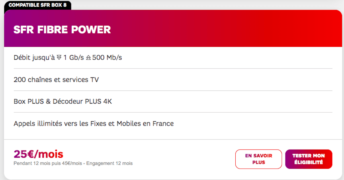 Box fibre optique Power de SFR
