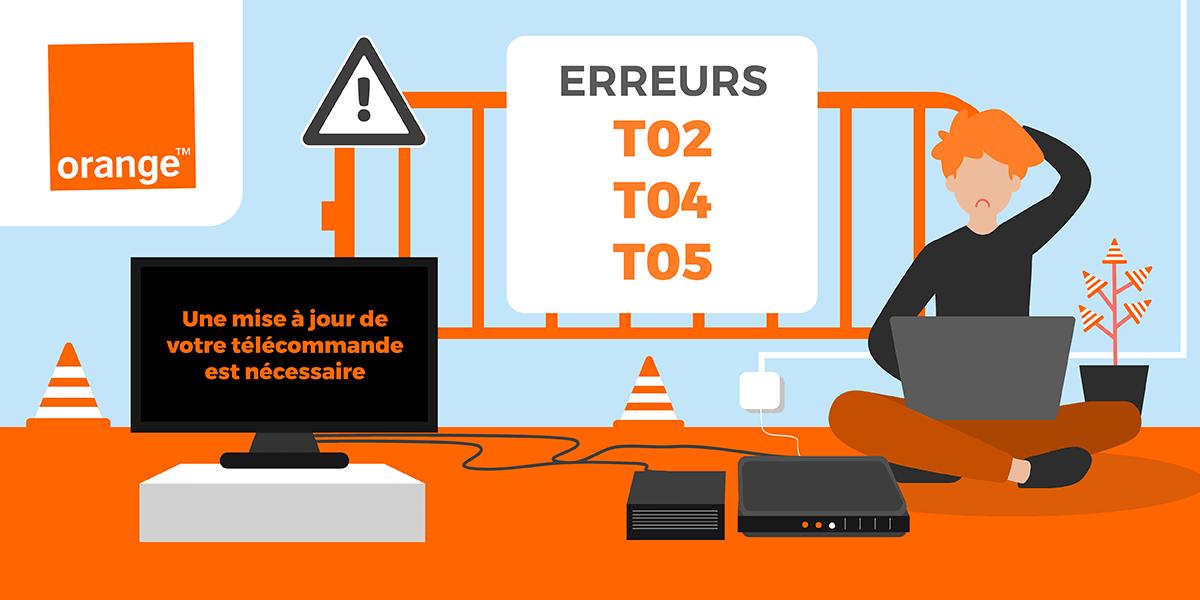 Les erreurs T02, T04 et T05 d'Orange.