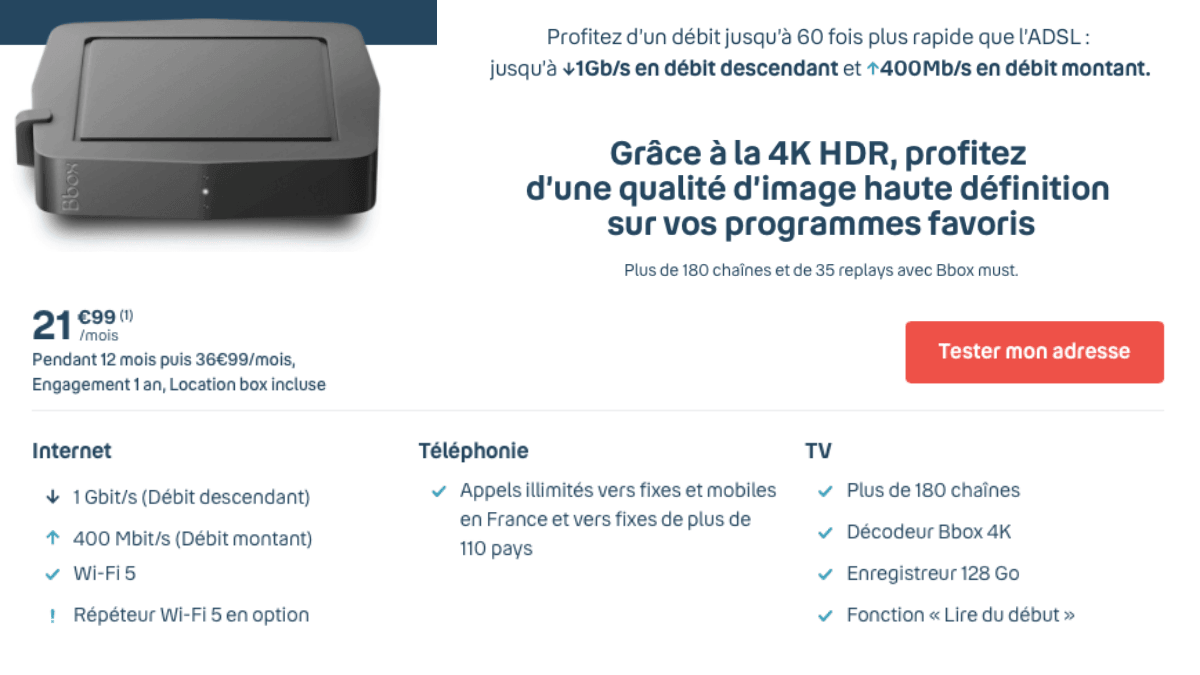 La Bbox Must à 21,99€/mois pendant un an.