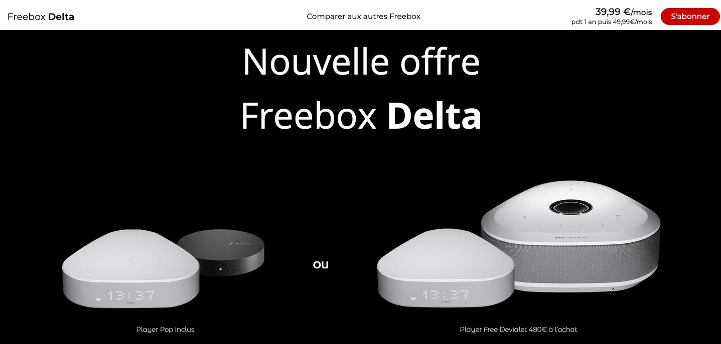 Freebox Delta 39,99€/mois box internet premium