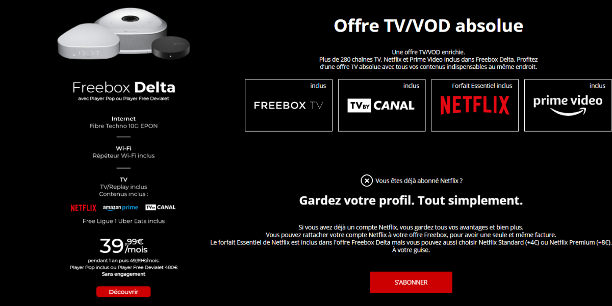 La box internet de Free avec Netflix à 39,99€/mois