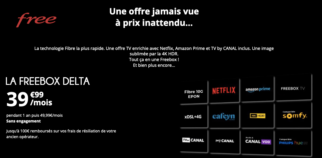 Freebox Delta offre internet