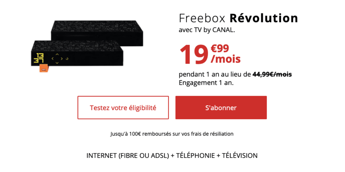 La Freebox Revolution pour 19,99€/mois