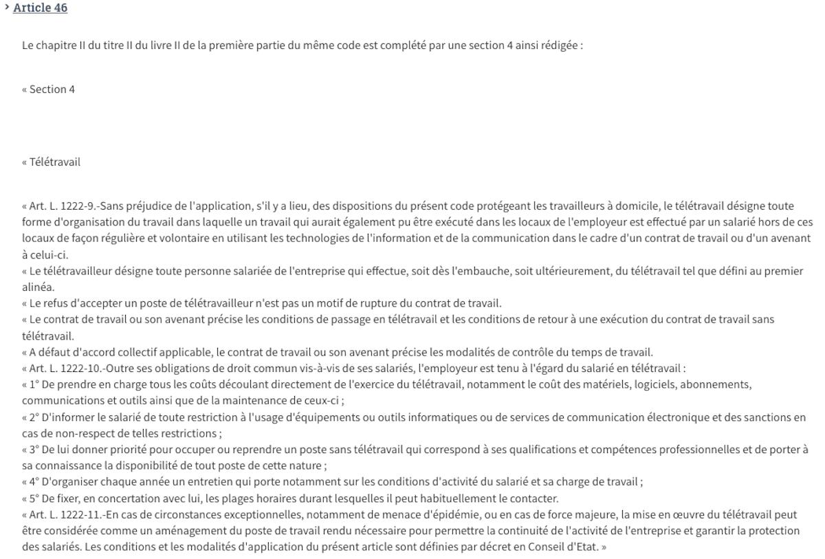 Abonnement internet confinement télétravail Legifrance