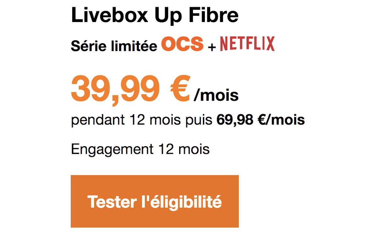 Box internet Netflix Livebox Up Fibre Orange