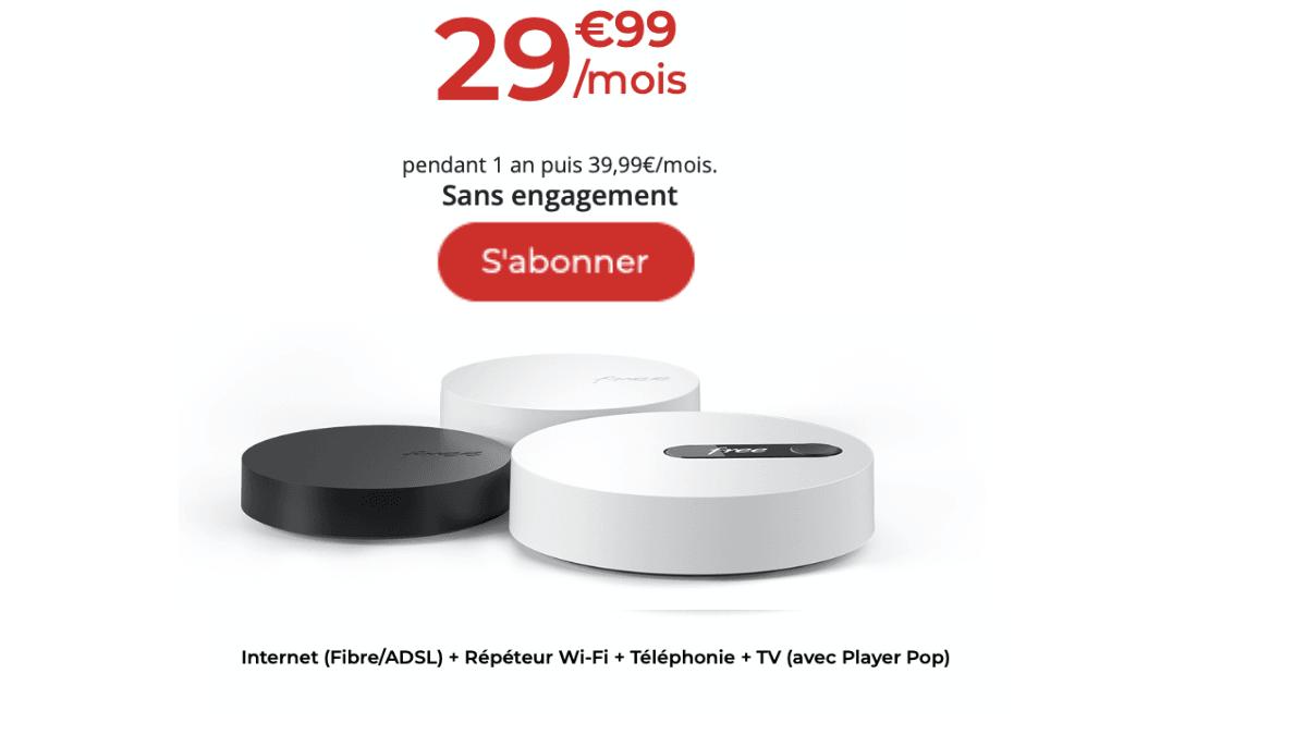 La Freebox Pop à 29,99 € / mois pendant un an.