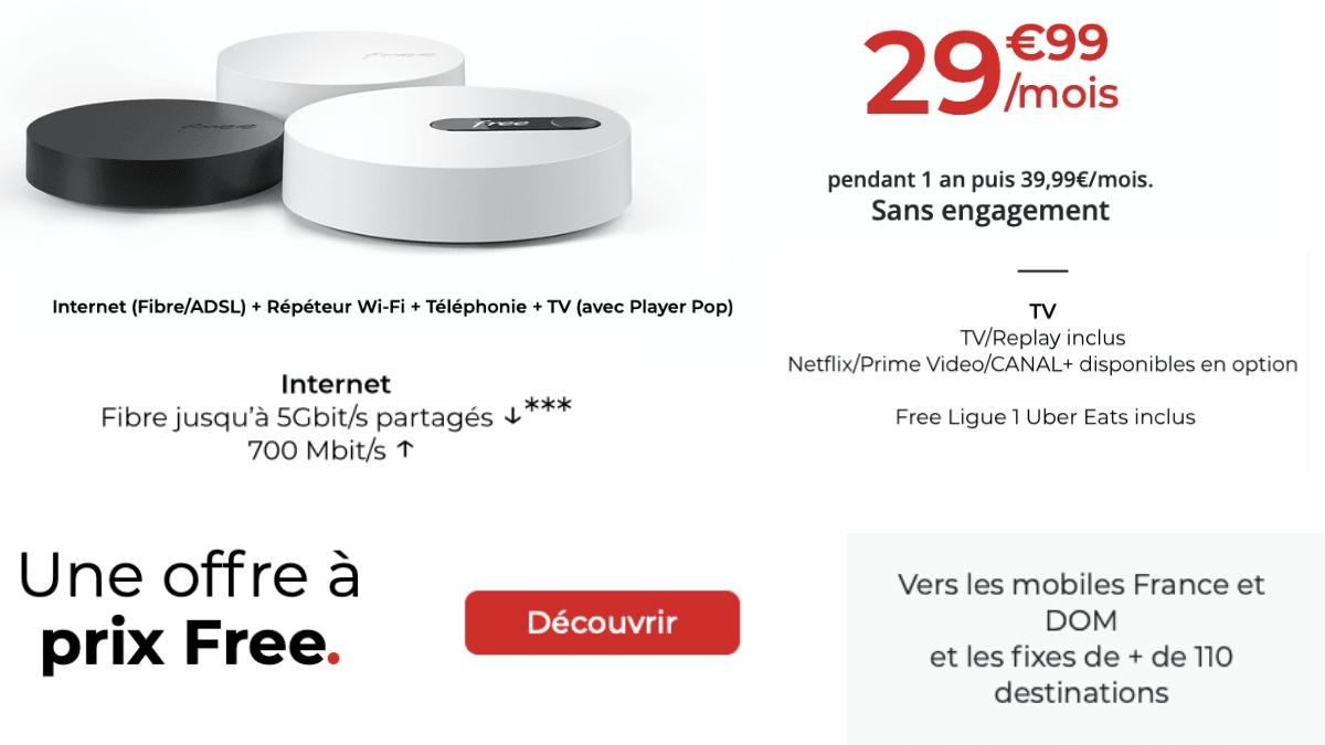Free propose une box triple play pour 29,99€/mois.