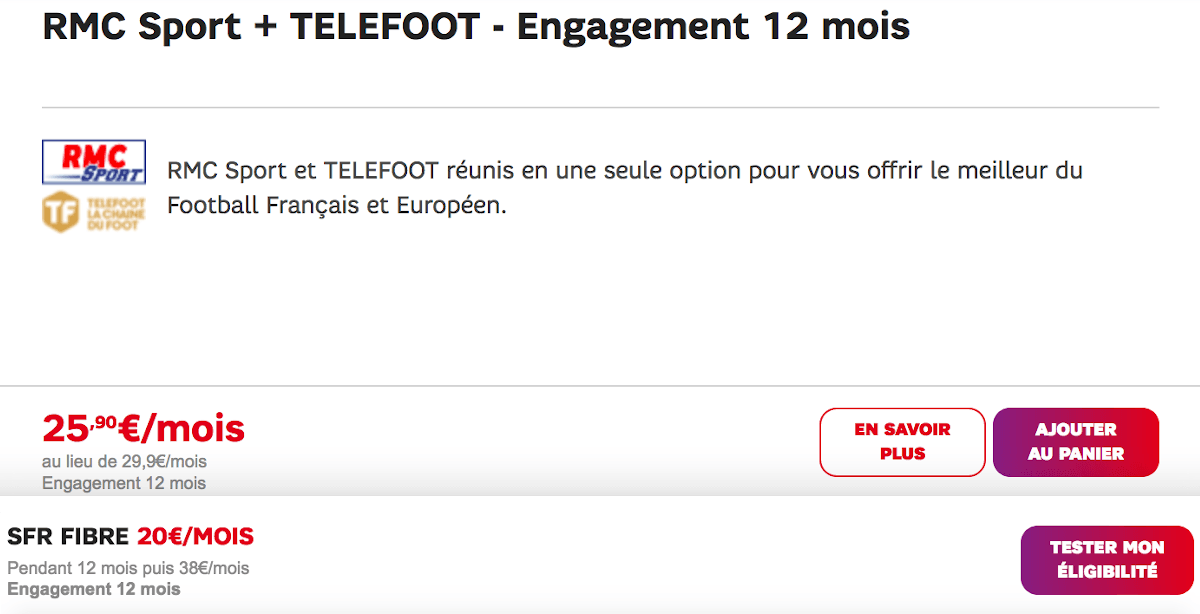 RMC Sport Telefoox box internet SFR Fibre