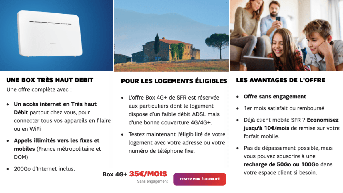 SFR propose sa box 4G pour 35€ par mois.