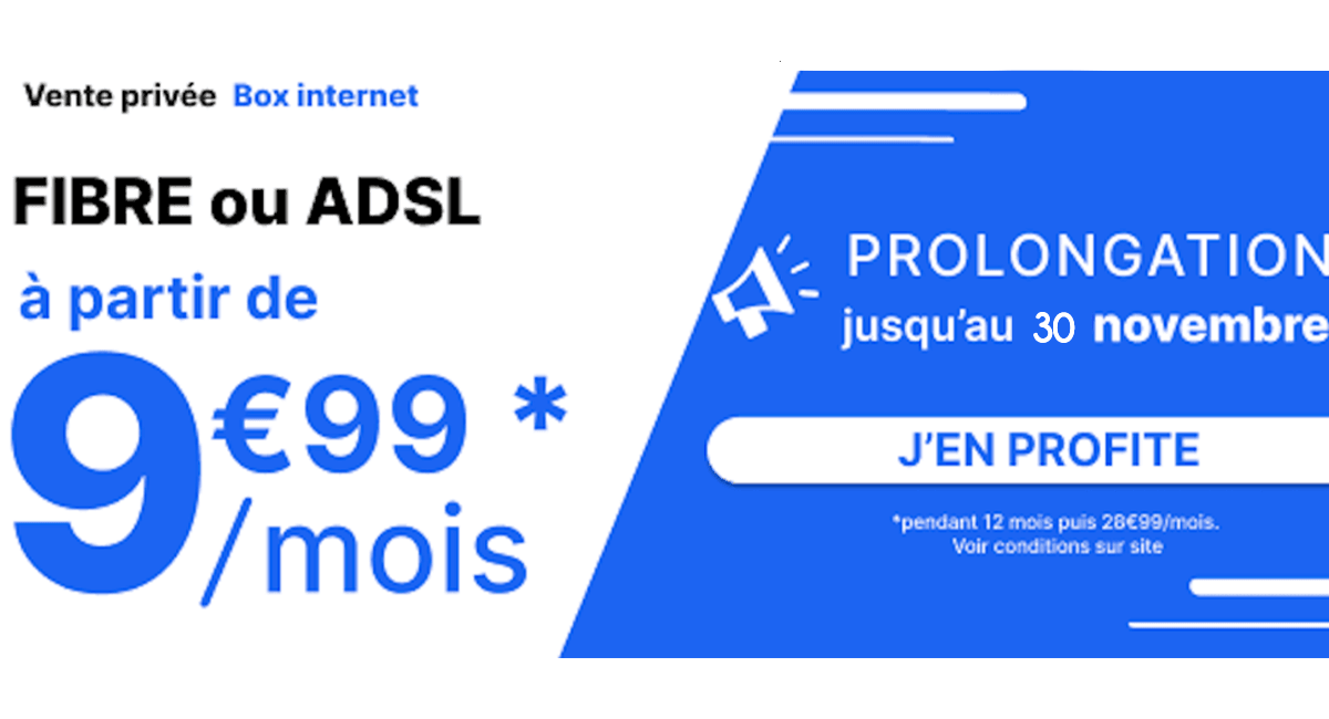 une box dual-play à 9,99€/mois avec la vente privée