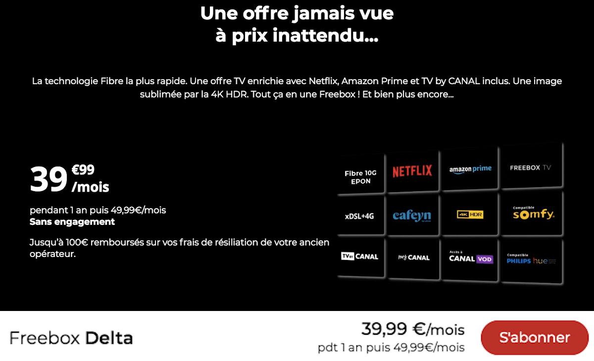 Box internet Netflix inclus Freebox Delta Free Cyber Monday