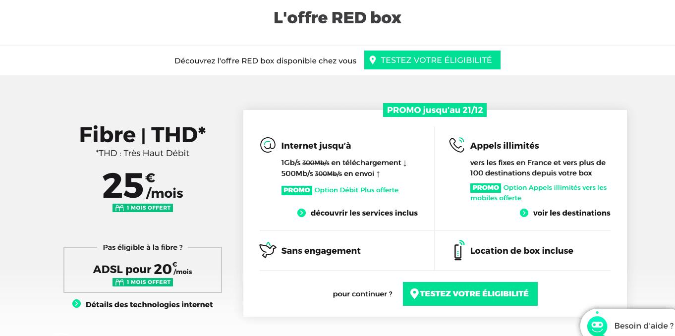 La RED Box en fibre optique à 25€
