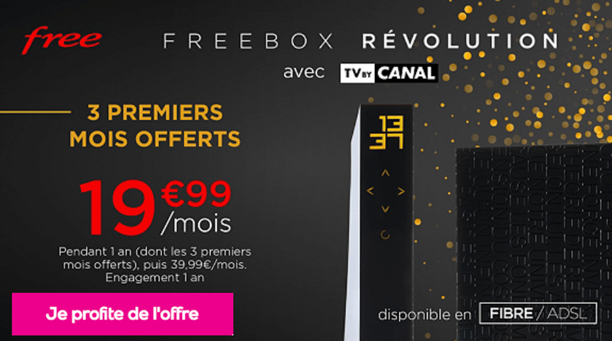 Vente privée Freebox Révolution 3 mois internet offerts