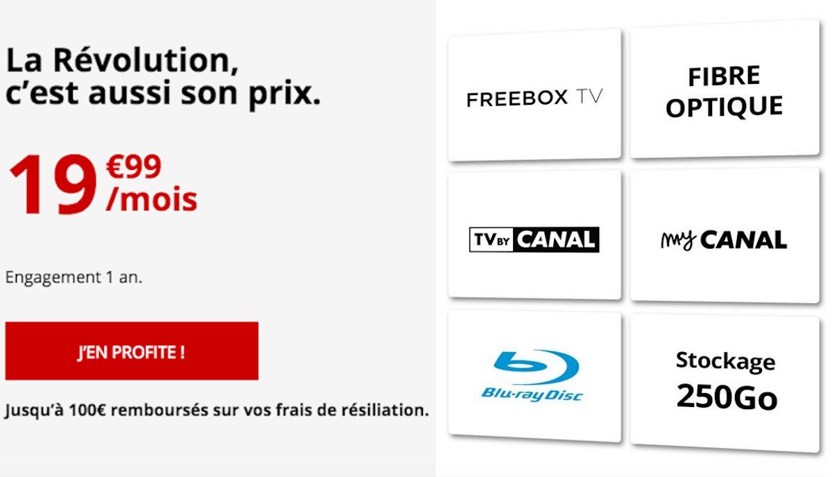 Vente privee Freebox Revolution internet fibre et TV by CANAL