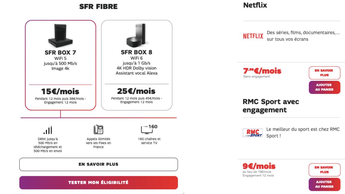 La box fibre de SFR pour 15€ par mois