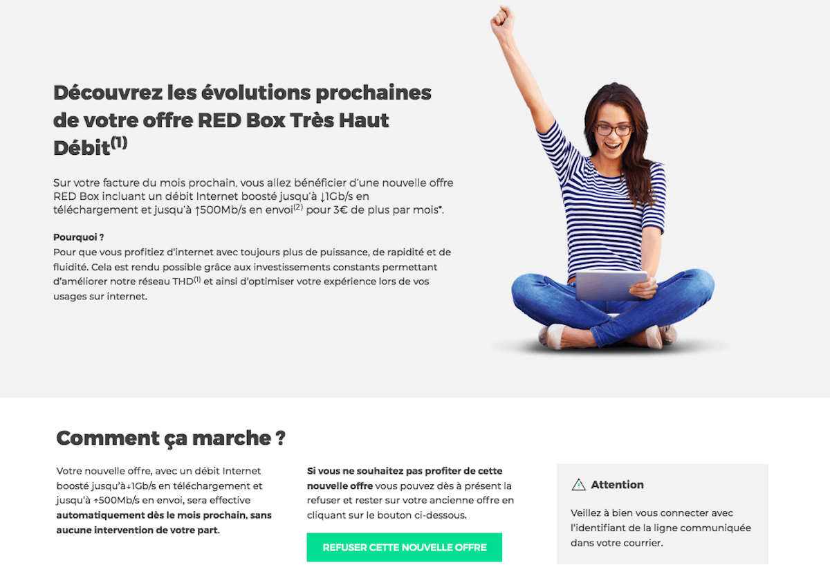 Hausse prix box internet RED by SFR augmentation tarif