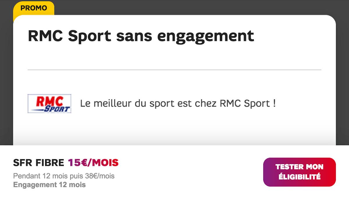 SFR Box Starter 7 fibre internet téléphonie et TV avec promo RMC Sport