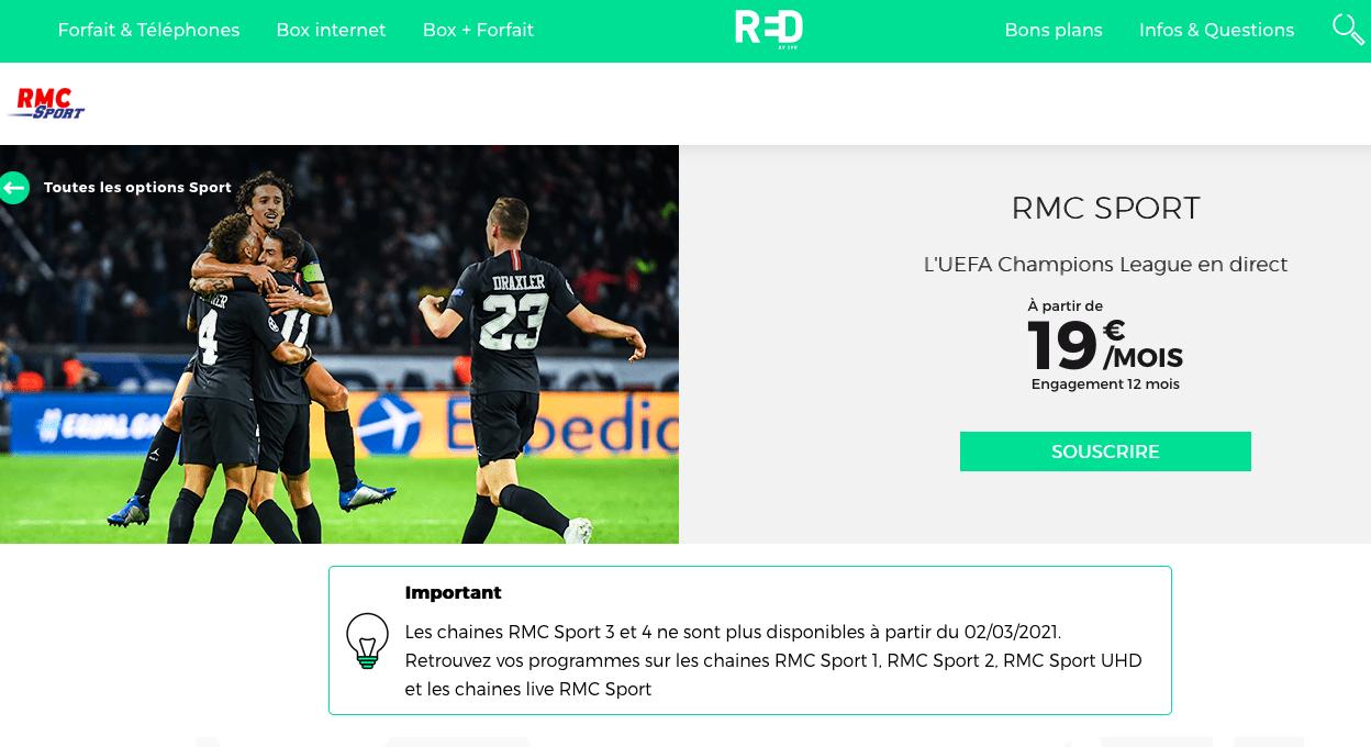 RMC Sport chez Red à 19€/mois