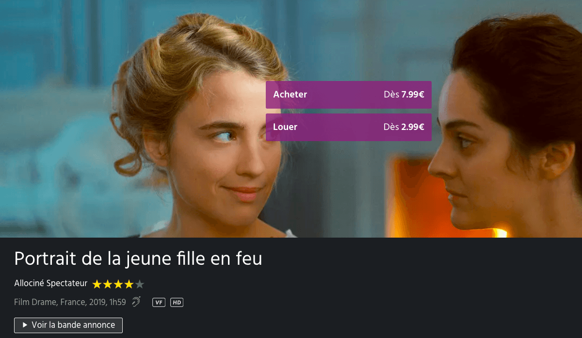 Portrait de la jeune fille en feu Canal+