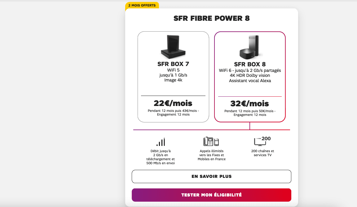 SFR box 8 abonnement internet