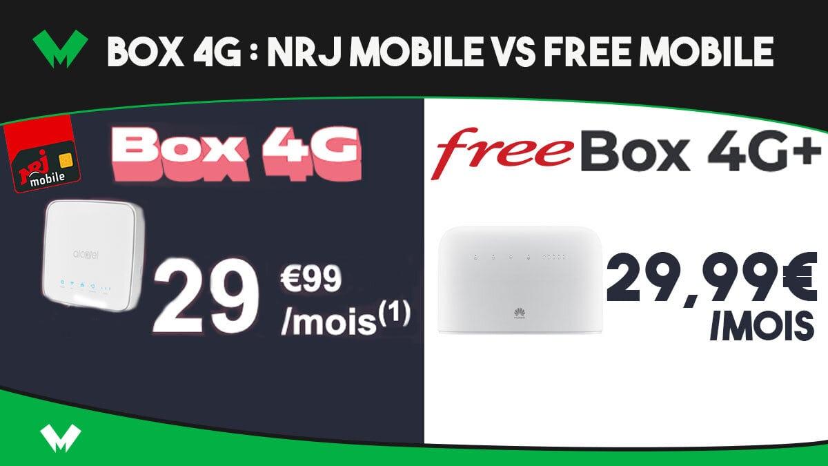 Des box 4G à seulement 29,99€/mois avec NRJ Mobile et Free - MonPetitForfait