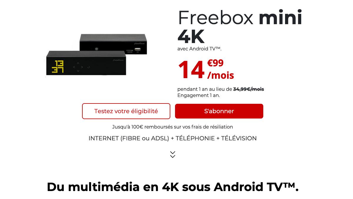 La Freebox mini 4K en promo à 14,99€/mois