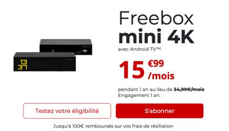Promo Freebox mini 4K fibre optique.