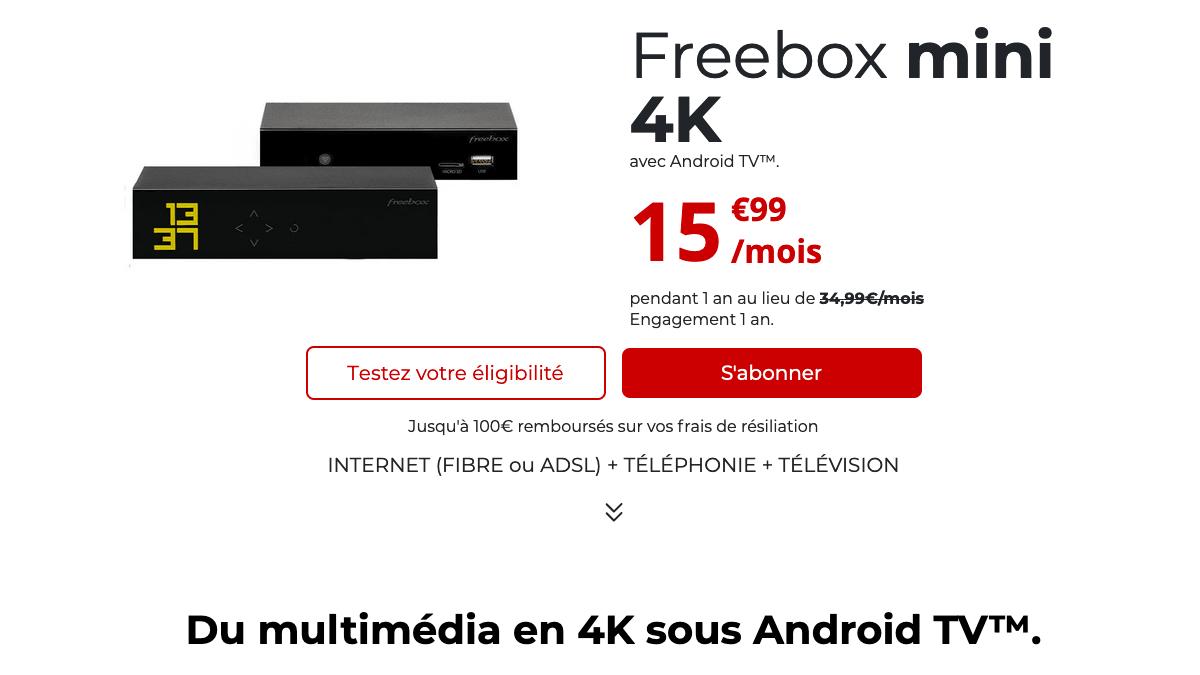 Freebox mini 4K engagement 1 an