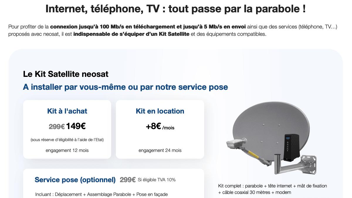 Le kit satellite de l'offre neosat