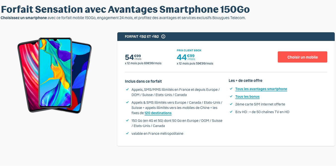 forfait 150 Go bouygues telecom