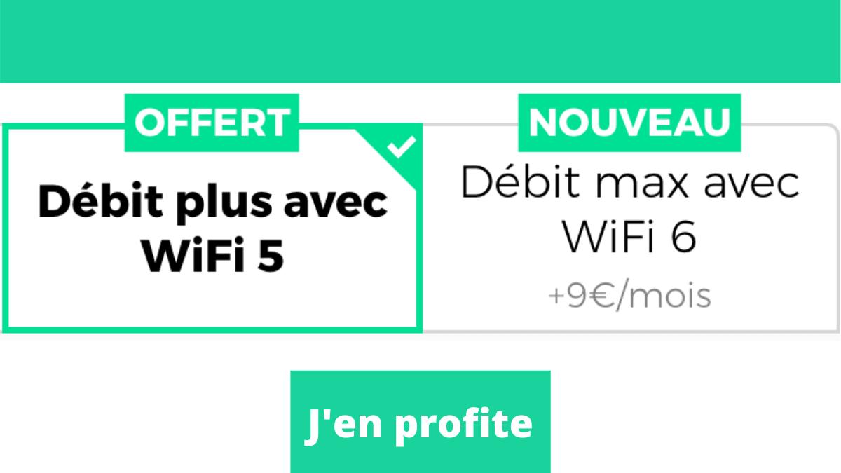 Débit WiFi plus offert