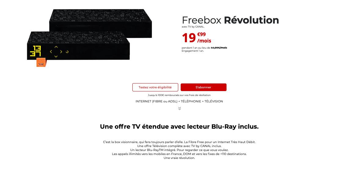 freebox révolution box pas chère