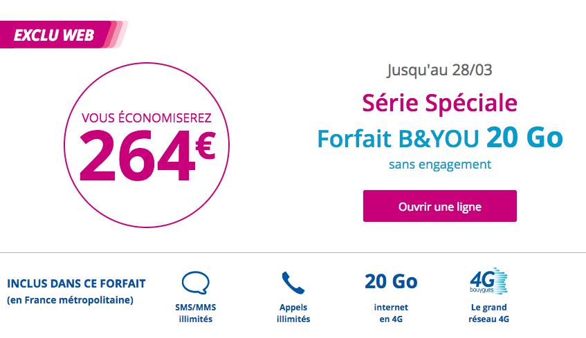 Forfait B&YOU 20 Go à 2,99€