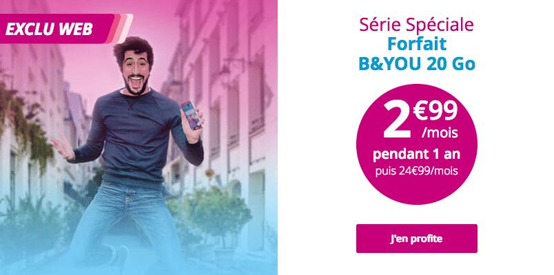 Forfait B&YOU de Bouygues Télécom avec 20 Go