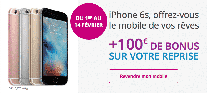 l 39 iphone 6s chez bouygues 100 euros de bonus avec la reprise de votre ancien mobile. Black Bedroom Furniture Sets. Home Design Ideas