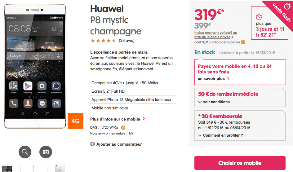 vente flash chez sosh huawei p8 avec 80 euros de r duction. Black Bedroom Furniture Sets. Home Design Ideas