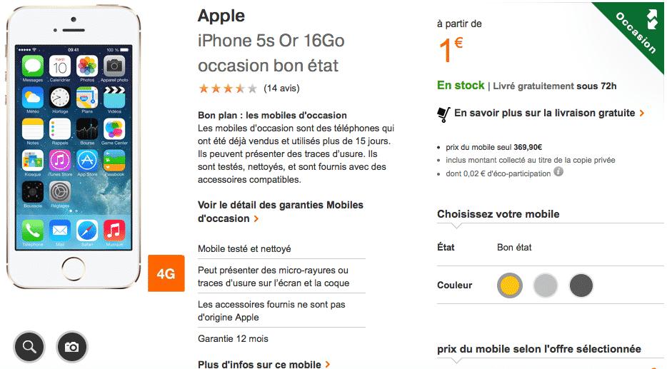 l 39 iphone 5s d 39 occasion reconditionn 1 euro chez orange. Black Bedroom Furniture Sets. Home Design Ideas