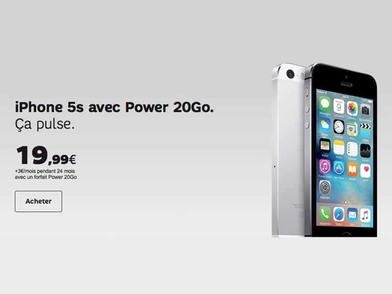 iphone 5s chez sfr 19 99 avec le forfait power 20 go. Black Bedroom Furniture Sets. Home Design Ideas