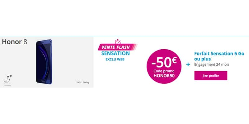 bouygues t l com 50 de remise sur le honor 8 dual sim avec un code promo. Black Bedroom Furniture Sets. Home Design Ideas