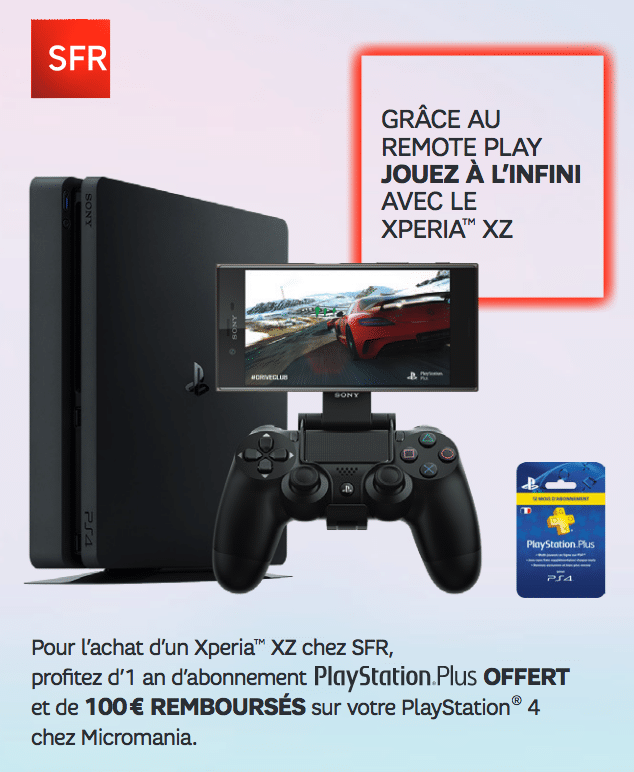 sfr 100 rembours s sur la ps4 1 an au playstationplus offert pour l 39 achat du sony xperia xz. Black Bedroom Furniture Sets. Home Design Ideas