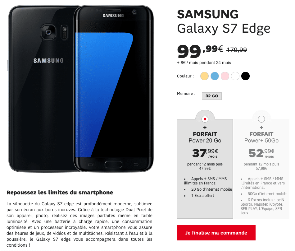 Vente Flash SFR : Galaxy S7 Edge