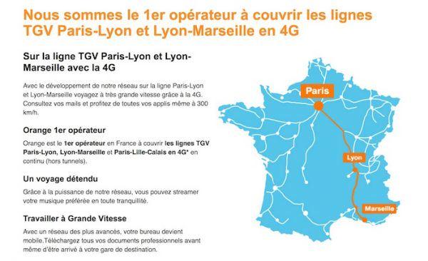 Orange propose la 4G sur la ligne TGV Paris-Marseille