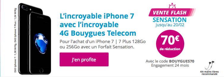 l 39 iphone 7 et 7 plus avec 70 rembours s chez bouygues telecom code promo. Black Bedroom Furniture Sets. Home Design Ideas