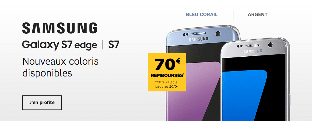 les samsung galaxy s7 et s7 edge avec 70 rembours s chez sfr. Black Bedroom Furniture Sets. Home Design Ideas