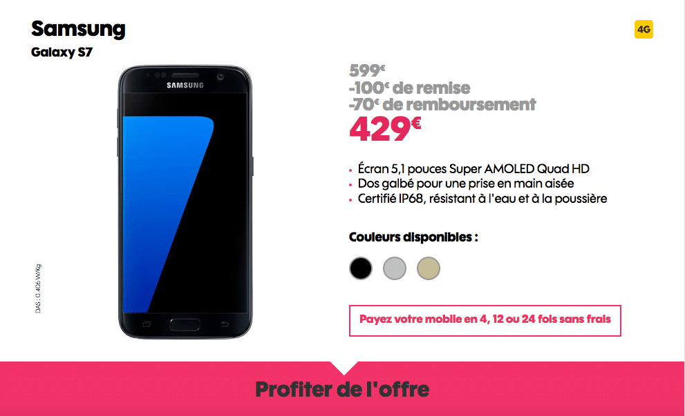 Vente Flash Galaxy S7 Sosh