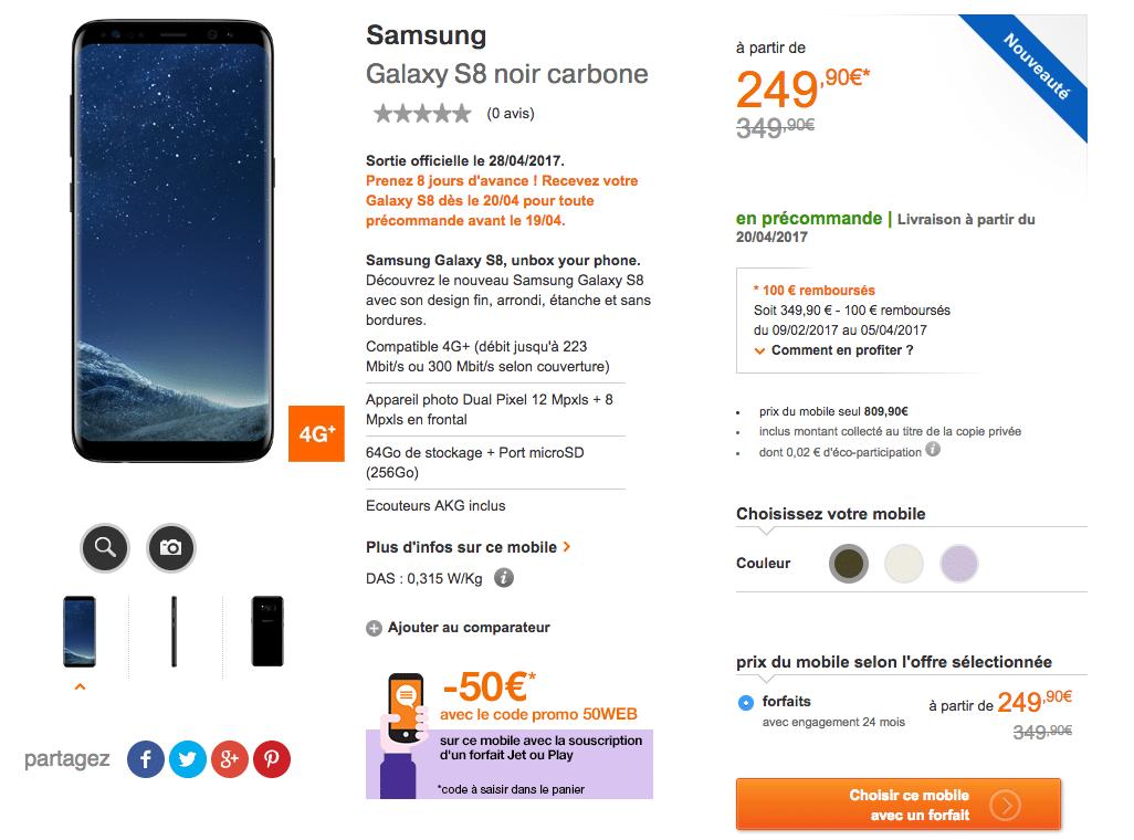 tarif du Samsung Galaxy S8