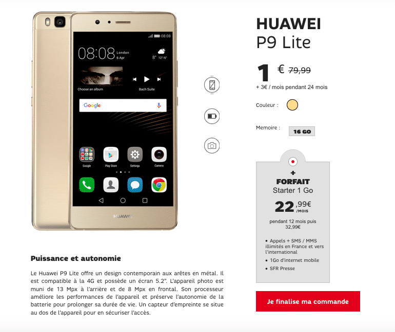 Huawei P9 Lite SFR